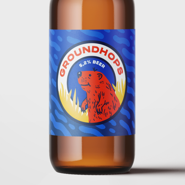 Close up of a beer bottle with the fictional groundhop label