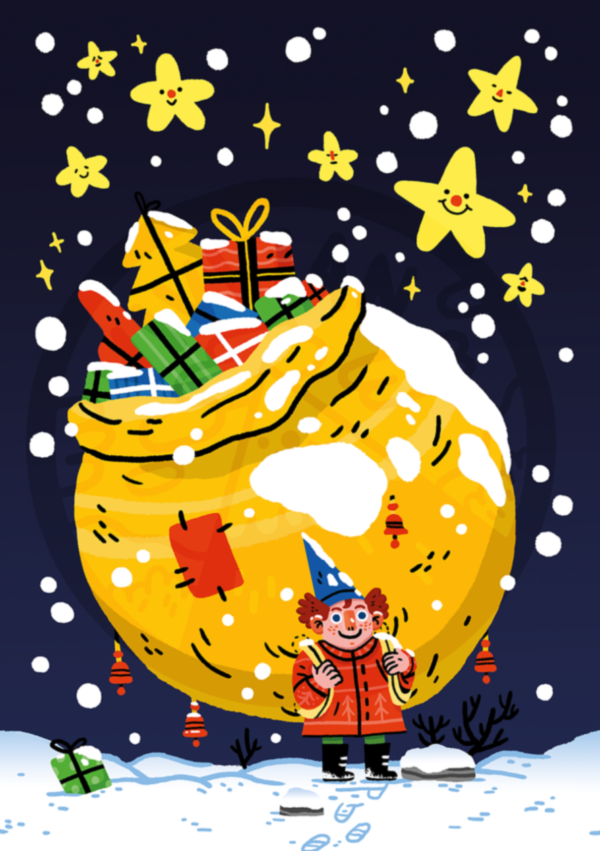Illustrated christmas card featuring a small elf carrying a huge bag full of presents